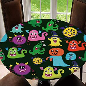 SUPNON Outdoor Tablecloth Waterproof Spillproof Polyester Table Cover Abstract Halloween Seamless Pattern for Girls Or Boys for Patio Garden Tabletop Decor Fit for 43