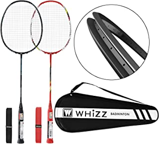 WHIZZ Badminton Racket Set for Adults, Pair of 2 Graphite Rackets, Lightweight & Heavy Duty, Including Premium Badminton B...
