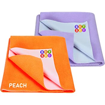 Bey Bee Water Resistant Bed Protector Baby Dry Sheet with Ultra absorbance (Peach/Purple)