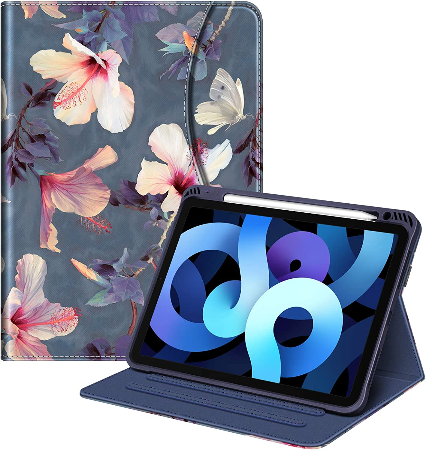 Fintie Folio Case for iPad Air 4th Generation 2020 - [Supports Pencil 2nd Gen Charging] Multi-Angle Viewing Soft TPU Stand Back Cover with Pocket & Pencil Holder, Auto Wake/Sleep, Blooming Hibiscus