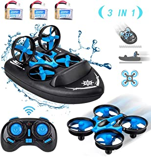 HIBRO JJRC H36F Mini Drone,Remote Control Boats for Pools and Lakes,RC Car for Kids, 3-in-1 Sea-Land-Air Mode Switchable Waterproof Hovercraft RC Quadcopter RTF, 3PCS Battery,12PCS Extra Propeller