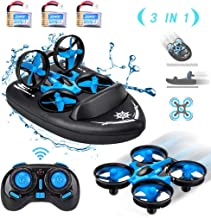 $29 » HIBRO JJRC H36F Mini Drone,Remote Control Boats for Pools and Lakes,RC Car for Kids, 3-in-1 Sea-Land-Air Mode Switchable Waterproof Hovercraft RC Quadcopter RTF, 3PCS Battery,12PCS Extra Propeller