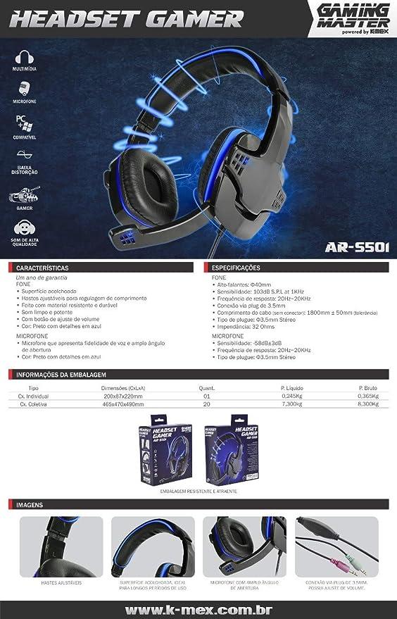 Headset Gamer AR-S501 Preto com azul c/microfone K-MEX   Amazon.com.br