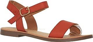 MVE Shoes Women's Stylish Comfortable Flat Single Strap Buckled Open Toe Sandal