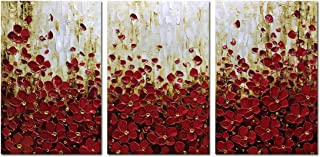 Metuu Modern Canvas Paintings, 36x72 Inch Texture Palette Knife Red Flowers Paintings Home Decor Wall Art Colorful 3D Flowers Wall Decoration Abstract Painting Wood Inside Framed Ready to Hang
