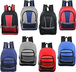 "24 Pack - 17"" Wholesale Sport Backpacks in 8 Assorted Styles - Bulk Case of Bookbags"