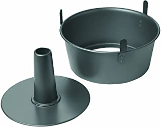 "Chicago Metallic 16184 Professional 2-Piece 9.5-Inch Angel Food Cake Pan with Feet, 9.5"" x 4"", Black"