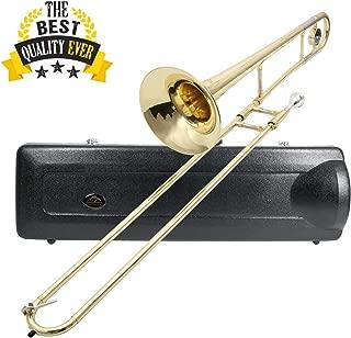 EASTROCK Bb Tenor Slide Trombone Brass for Student,Beginner-Standard Trombone with Hard Case Mouthpiece Cleaning Kit (7.874