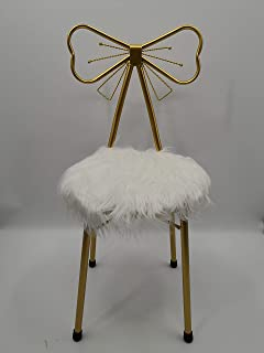 Lounge Chairs Dining Chair Golden Wrought Iron Dressing Table Makeup Stool Computer Chair With Soft White Wool Minimalist ...