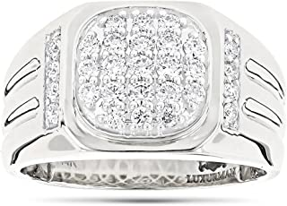 Men's Diamond Band 14k Rose, White or Yellow Gold Pinky Ring 1ctw G-H Color by Luxurman