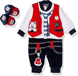 Baby Shoora Embroidered Elastic Cuffs Long Sleeves Jumpsuit with Shoes Unisex Set - Multi Color, 3-6 Months