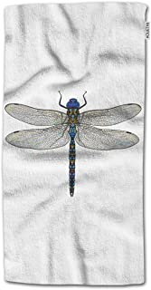 KOUETXIl Dragonfly Hand Towel,Top View of Blue Dragonfly with Transparent Wings Hand Towel Multipurpose for Bathroom, Hotel, Gym and Spa 30