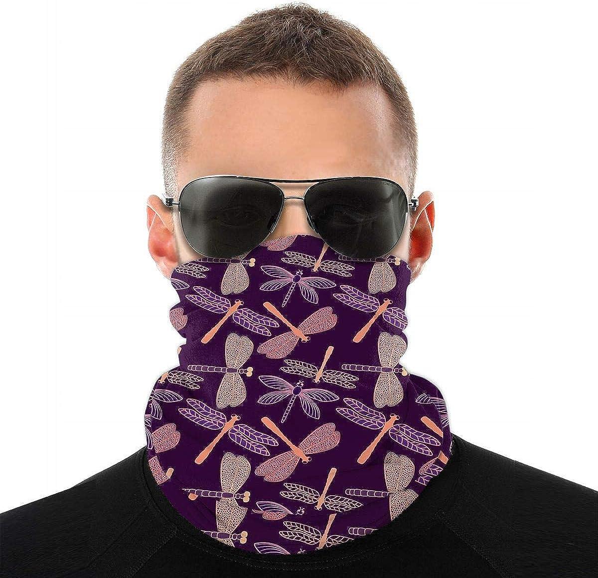KiuLoam Dragonfly Purple Pattern Seamless Face Mask Bandanas Neck Gaiter for Men and Women, Multifunction Headband Scarf for Dust, Outdoors, Sports