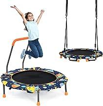 COSTWAY 2-in-1 Trampoline & nestschommel combinatie, nestschommel met stevige touwen, opvouwbare trampoline voor kinderen,...