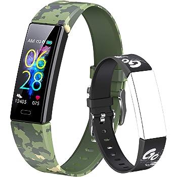 Dwfit - Pulsera deportiva infantil unisex para reloj inteligente, con podómetro, registro de actividad, impermeable, pulsómetro de muñeca, registro de sueño y calorías para Android/iOS