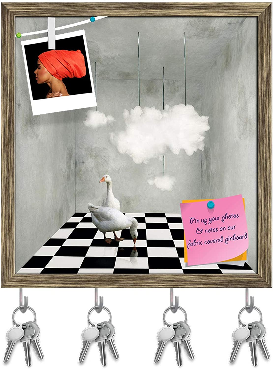 Artzfolio Two Beautiful Ducks On A Checkered Floor Key Holder Hooks   Notice Pin Board   Antique golden Frame 16 X 17Inch