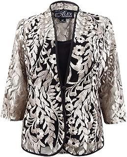 ALEX EVENINGS Womens Black Embellished Sheer Bolero Evening Jacket Petites US Size: L
