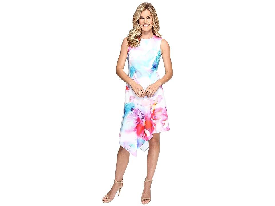 Calvin Klein Floral Dress with Asymmetrical Hem CD7C201K (Multi) Women