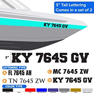Boat Registration Numbers, (set of 2) Decals, Stickers, 0496