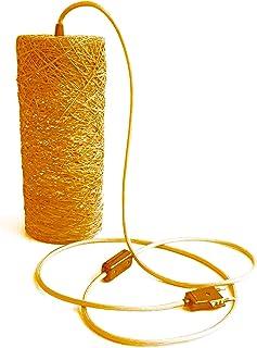 Lámpara de de sobremesa cilíndrica naranja. Decorativa de hilo de algodón, artesanal, hecha a mano. TABLE CYLINDER