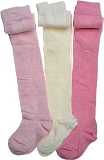 WB Socks 3 Paar Baby Strumpfhosen, Rosa und Cremefarbe, Baumwollereich