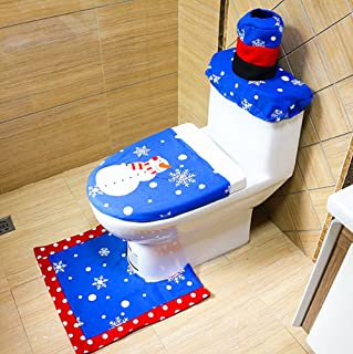 Alimitopia Christmas Toilet Set,Embroidery Seat Cover Rug Tank Lid Cover,Xmas Decorative Supplies Bathroom(1 Set,Snowman Pattern,Type 3#)