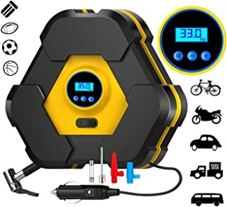 Techtest Heavy Duty Automatically Shut Off Car Air Compressor Tyre Inflators Pump Digital with Puncture Repair Kit and Carry Case Tire Inflator, Power Line for Car, Truck, Bicycle, Other Inflatables