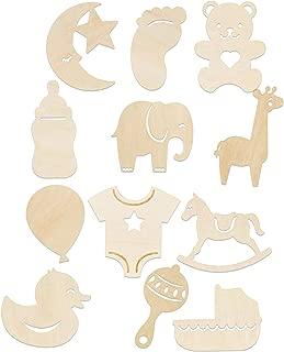 Set of 12 Baby Nursery Themed Wood Cutouts Set for Bedroom Wall Decor DIY Craft Wreath Centerpiece Shower Decor Bundle of 12- Rocking Horse, Bear, Rattle