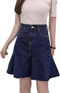 Tanming Women's Above Knee Length Ruffle Hem A-Line Denim Skirt