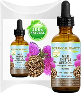 MILK THISTLE SEED OIL Silybum marianum seed oil 100% Pure Natural 2 Fl.oz.- 60 ml for FACE, SKIN, BODY, HAIR, NAILS, Foot Care. Foot Oil, Antioxidant Serum, Skin Moisturizer by Botanical Beauty
