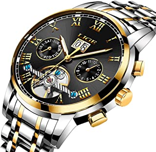 LIGE Men Watches Waterproof Business Date Calendar Watch Man Stainless Steel Automatic Mechanical Gold Black Wristwatch