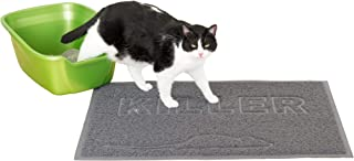Furhaven Pet Food Mat - Tiger Tough Tidy Paws Litter and Dining Food Mat for Dogs and Cats, Mouse Gray, One Size
