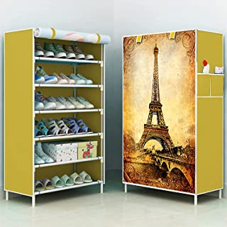 HEMOVIA Multipurpose Portable Folding Shoes Rack 6 Tiers Storage Organizer Cabinet Tower with Iron and Nonwoven Fabric wit...
