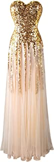 Angel-fashions Donna Abito da sposa senza spalline Illusion paillettes