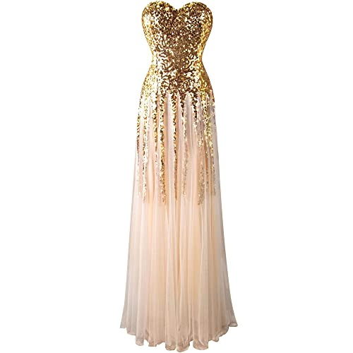 d195547737 Angel-fashions Women s New Gold Sequin Sweetheart Mesh Lace up Floor Length  Dress