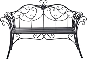 Outsunny Panca da Giardino Esterno Panchina Biposto da Giardino Esterno Metallo 133 × 51.5 × 90cm Nero