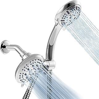 Apthrill 3-Way High Pressure Shower Head Combo – 9 Spray Settings Handheld Shower Head and 6 Spray Settings Rain Showerhead with 60 Inch Hose