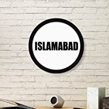 DIYthinker Islamabad Pakistan City Name Art Painting Picture Photo Wooden Round Frame Home Wall Decor Gift Small Black