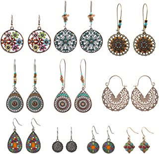 NEPAK 10 Pairs Vintage Bohemian Drop Dangle Earrings,Boho Dangle Earrings Jewelry Set Fashion Gifts for Women Girls