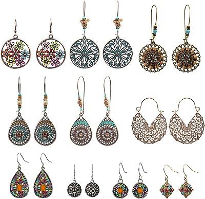 NEPAK 10 Paia di moda orecchini Sand Hanging Beads orecchini da donna,Orecchini Donna,orecchini stile bohémien elegante