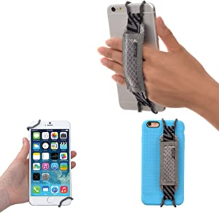 TFY Security Hand Strap Holder for iPhone X / 8/8 Plus - iPhone 6 / 6S (Plus) -iPhone 7/7 Plus - Samsung Galaxy S4 / S5 - Galaxy Note 2/3 / 4 - Nexus 5/6 - Huawei Mate 9 (Grey)