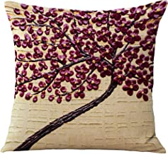 ChezMax Flat Printed 3D Oil Painting Effect Home Decorative Cotton Linen Throw Pillow Cover Cushion Case Square Pillowslip for Car Seat Dark Red Flowers 18 X 18''