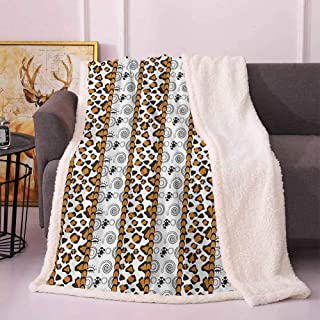 Zambia Fleece Blankets Cheetah Leopard Skin Pattern with Wildlife Featured Spirals Illustration Couch Blanket Amber Brown White 50″x65″