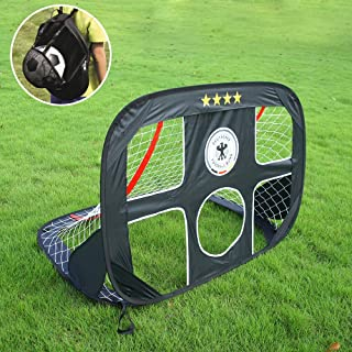 """WisHome 47.3"""" 2 in 1 Pop Up Kids Soccer Goal Portable Kids Soccer Net, Easy Score Football Set Indoor/Outdoor Shooting Practice Goal for Backyard Play with Round Zipper Carry Bag"""