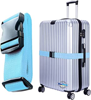 BlueCosto Luggage Strap Suitcase Straps Belts Travel Accessories, 1-Pack, Blue
