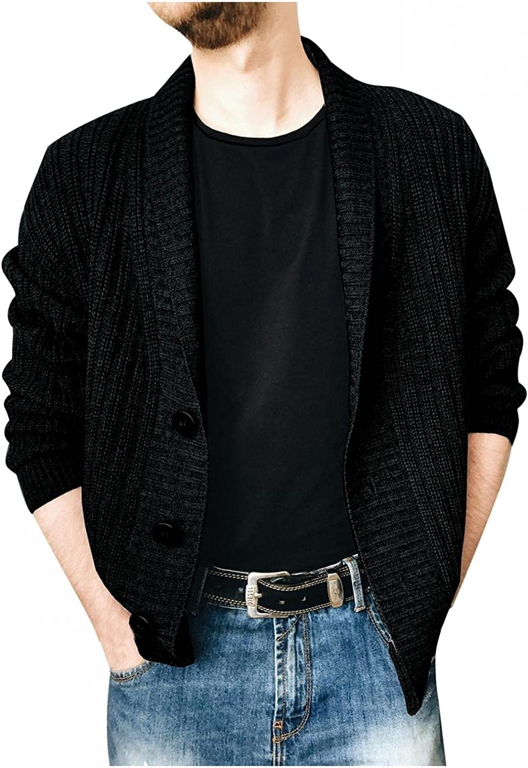 XUNFUN Men's Shawl Collar Cardigan Sweaters Cable Knitted Button Up Casual Winter Thermal Long Sleeve Solid Sweater Knitwear