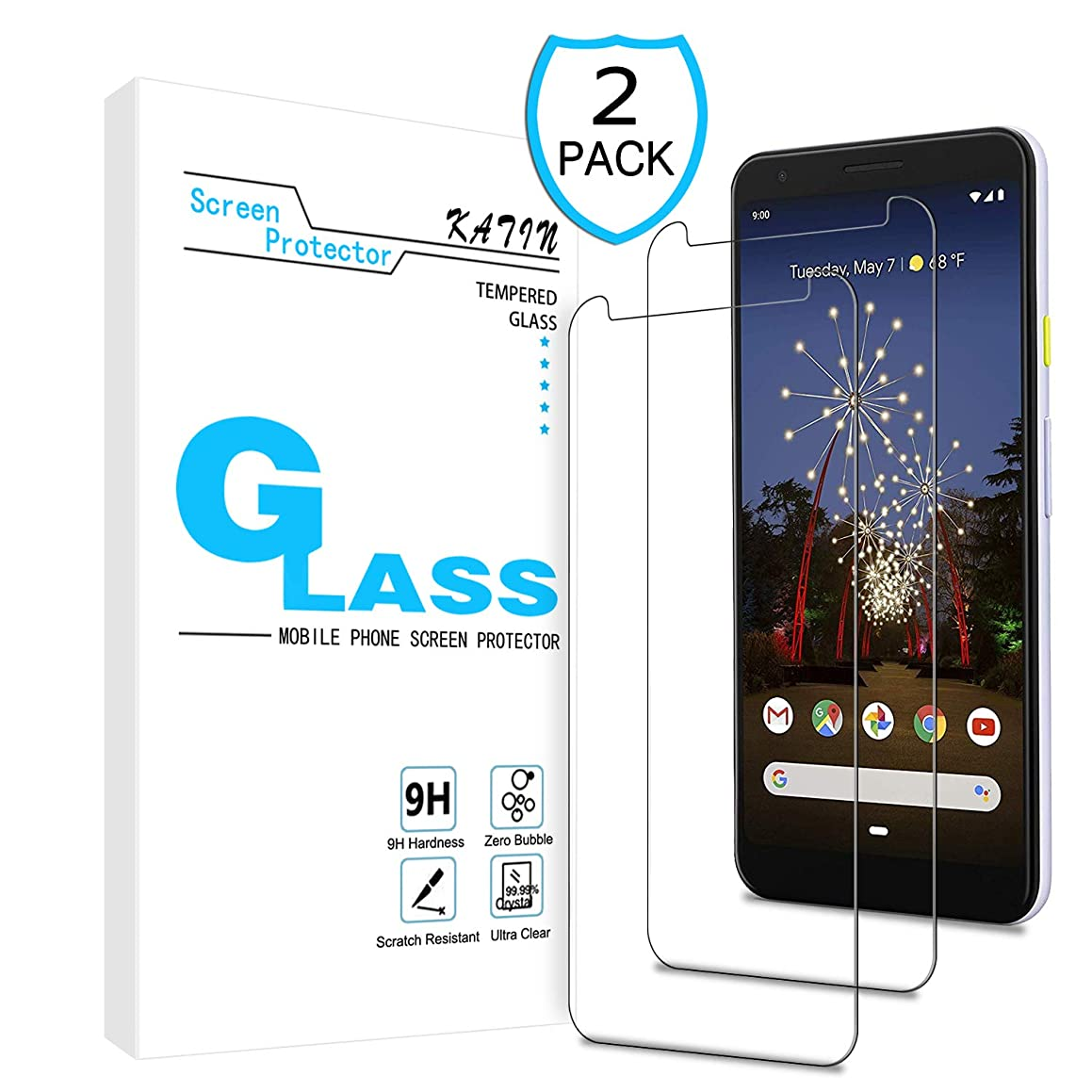 KATIN Google Pixel 3A XL Screen Protector - [2-Pack] Tempered Glass for Google Pixel 3A XL (6.0-inch) Screen Protector Easy to Install, Bubble Free, 9H Hardness with Lifetime Replacement Warranty