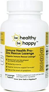 Be Healthy! Be Happy! Immune Health Pro - Zinc Rescue Lozenge Common Cold Relief Formula & Immune System Support 24 Count.