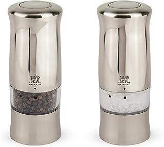 Peugeot Zeli Duo de moulins à poivre et sel électriques avec éclairage, Réglage classique, Couleur : Effet métal brossé, T...