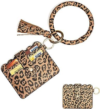 Cebostin Keychain Bracelet with Card Holder for Girl Keychain Keyring Wristlet Key Ring Chain Purse Women